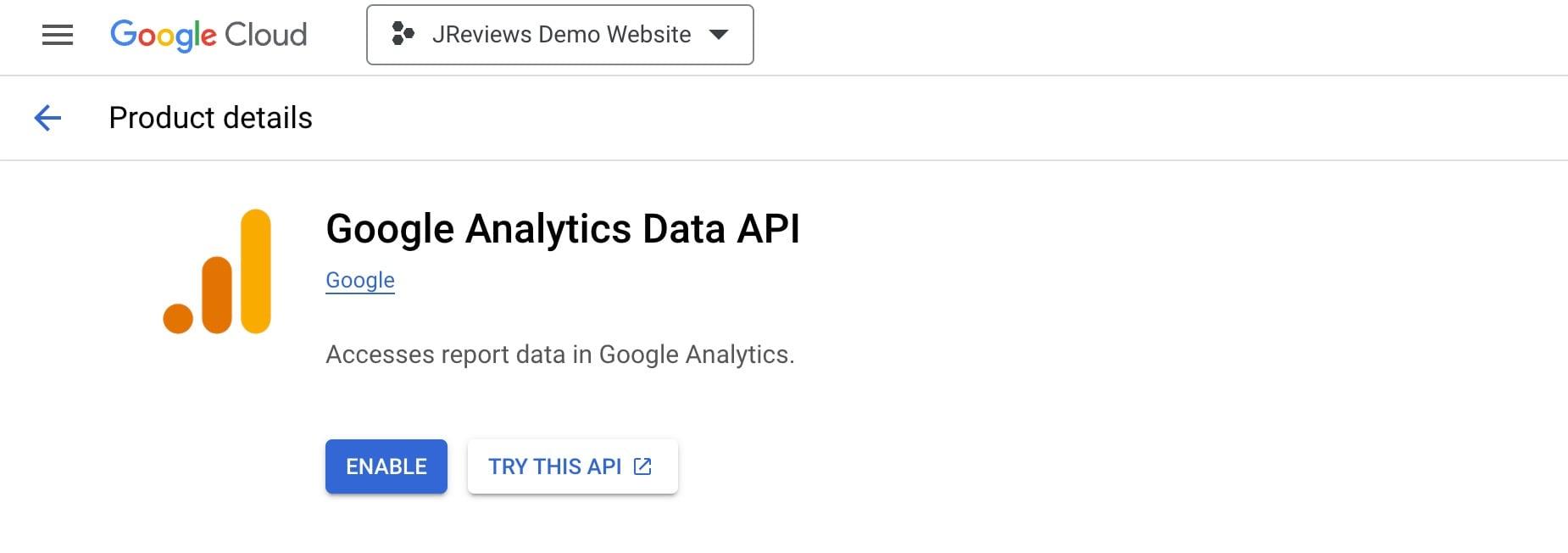 Enable Google Analytics Reporting API