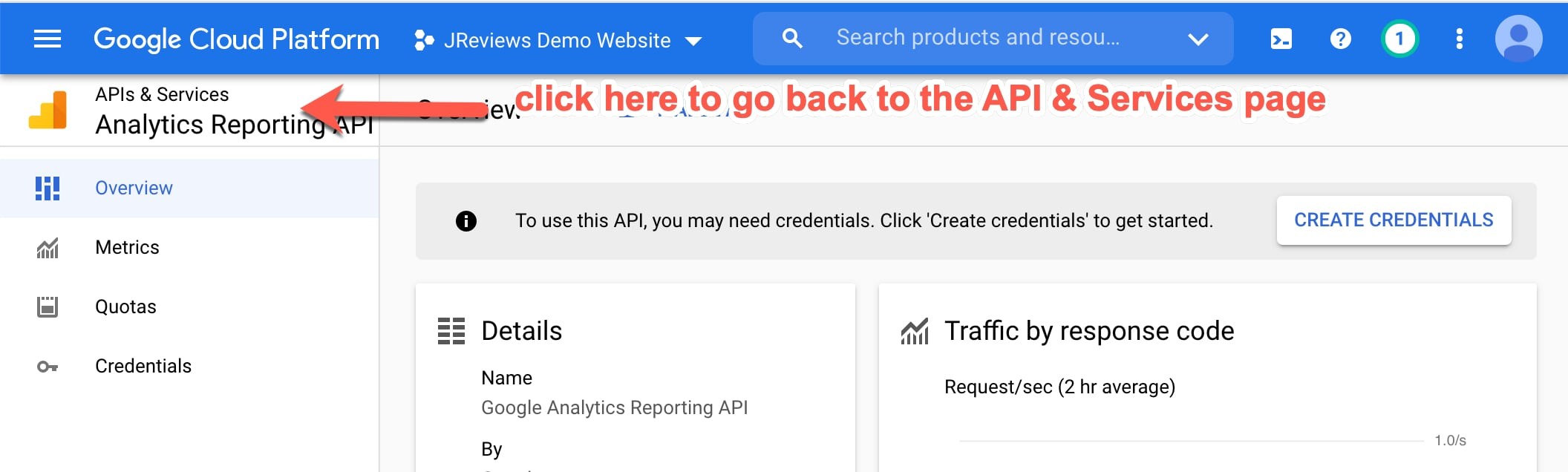 Go back to the project's API & Services page
