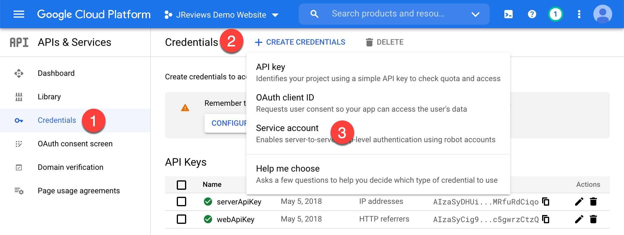 Create a new Service Account