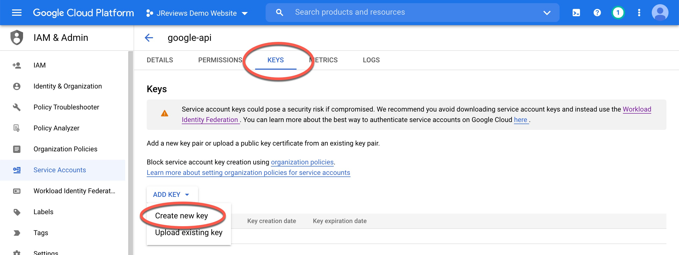 Create a new key for the Service Account