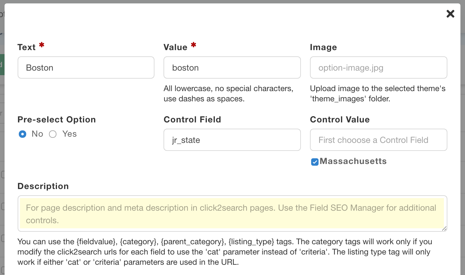 Field option-specific page descriptions