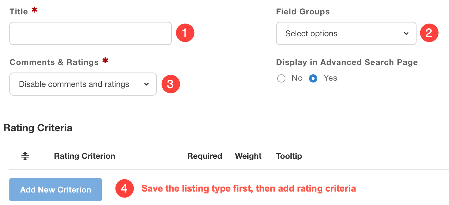 Creating listing types