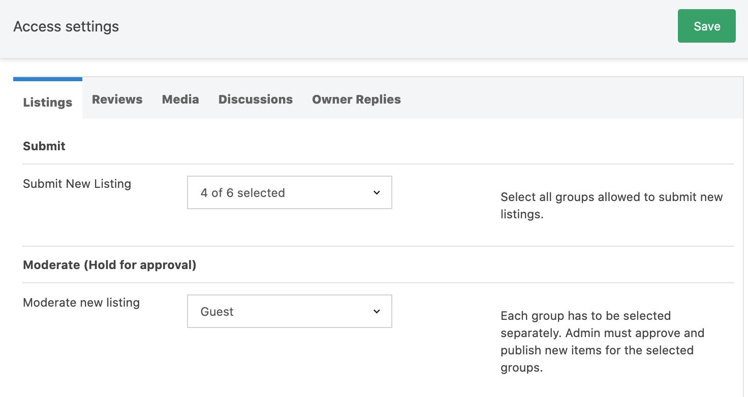 Adjusting listing permissions
