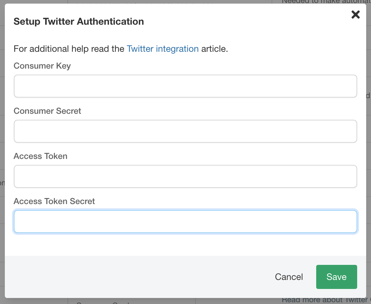 Twitter authentication settings