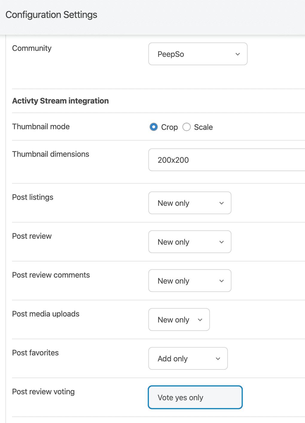 PeepSo activity stream options