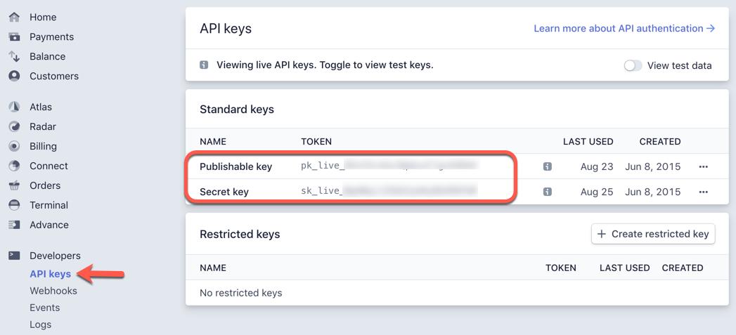 Stripe dashboard API keys