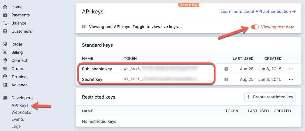 Stripe dashboard API test keys