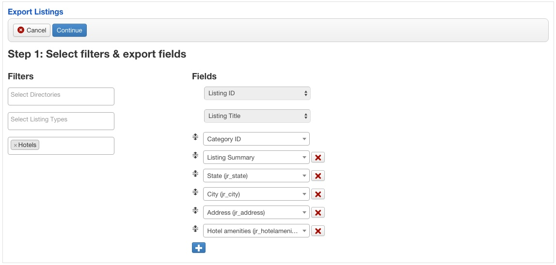 Export filters and fields