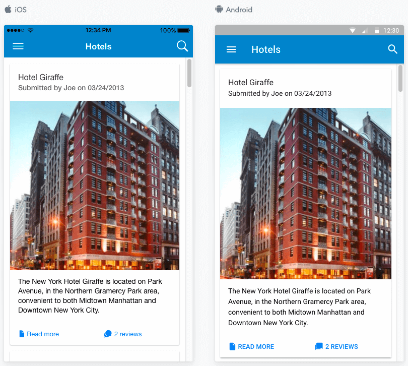 JReviews Mobile App listings card view