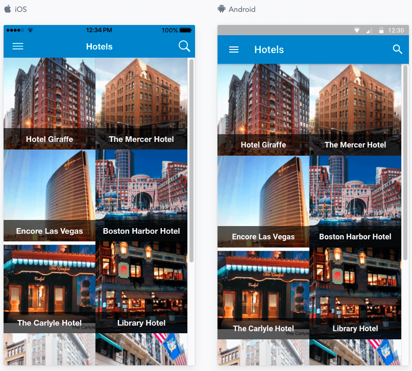JReviews Mobile App listings grid view