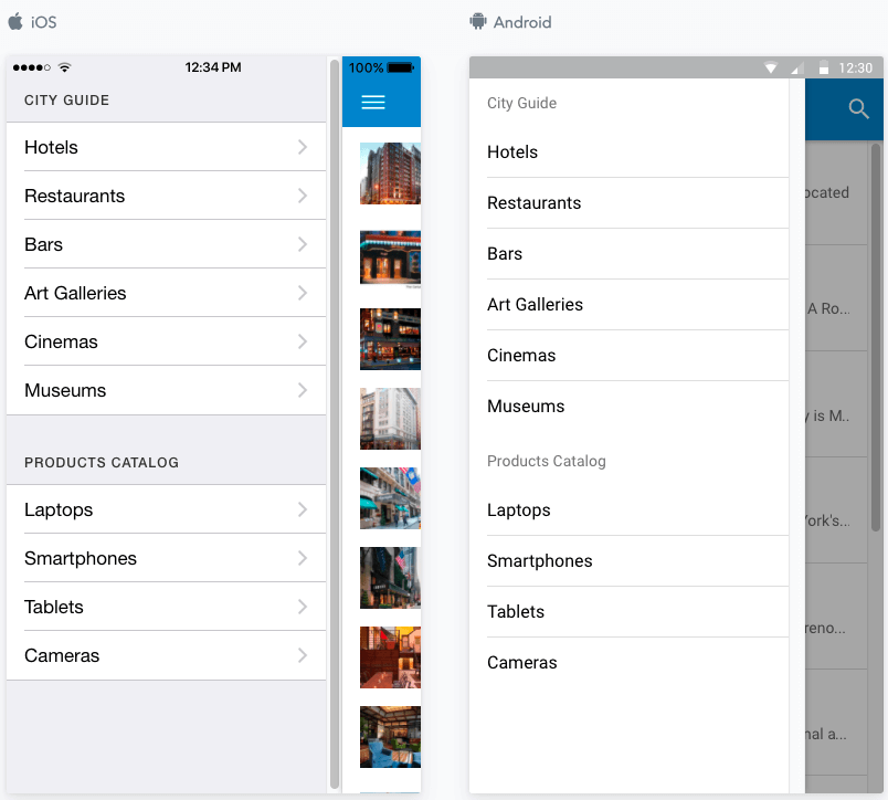 JReviews Mobile App sidemenu categories