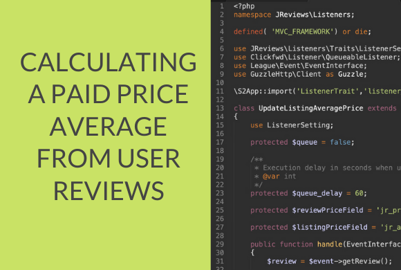Calculating a paid price average from user reviews